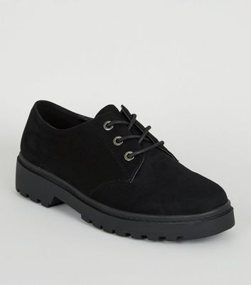 Black Suedette Chunky Lace Up Shoes