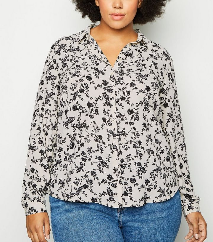 3628ab4caec570 Curves White Floral Long Sleeve Shirt   New Look