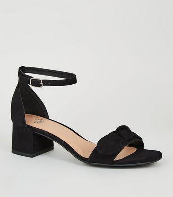 Girls Black Suedette Bow Strap Sandals