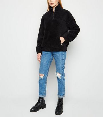 Black Teddy Zip Neck Sweatshirt