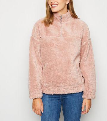 Mid Pink Teddy Zip Neck Sweatshirt
