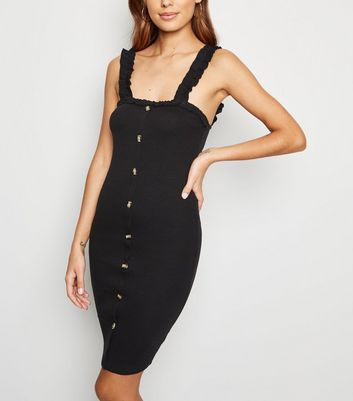 Cameo Rose Black Frill Strap Dress