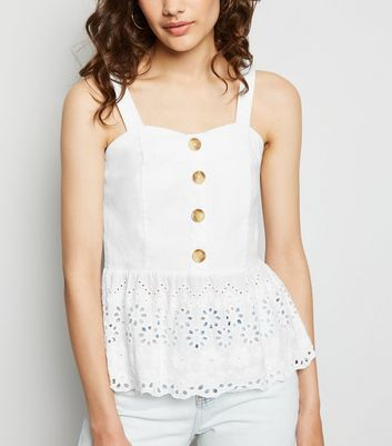 Cameo Rose White Brodeire Peplum Top