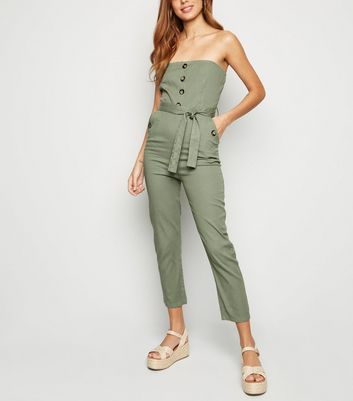Cameo Rose – Bandeau-Jumpsuit mit Taillenband in Khaki