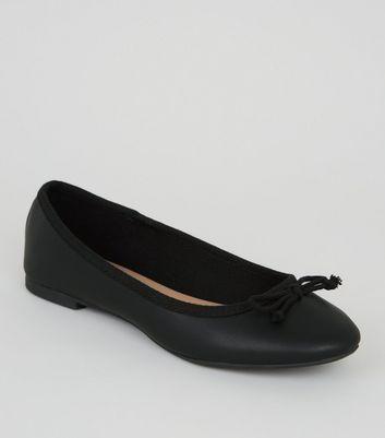 Girls Black Leather-Look Ballet Pumps