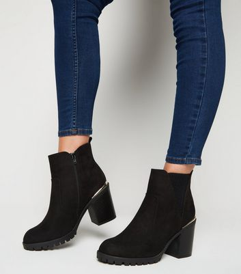 Wide Fit Black Suedette Cleated Ankle