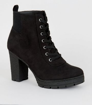 Wide Fit Black Lace Up Heeled Hiker Boots