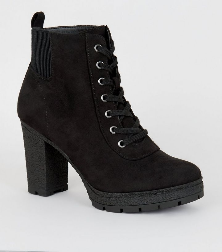 1a3ebd2ab7a15 Wide Fit Black Lace Up Heeled Hiker Boots | New Look