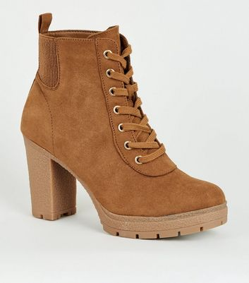 New Look Wide Fit Tan Lace Up Heeled
