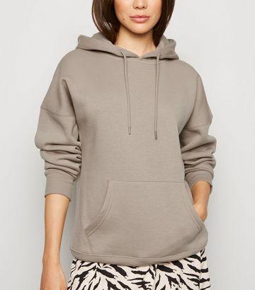 Light Brown Long Sleeve Jersey Hoodie