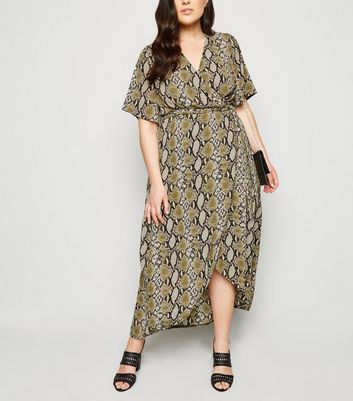 Curves Off White Snake Print Dip Hem Dress