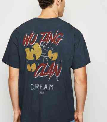 Blue Washed Wu Tang Clan Slogan T-Shirt
