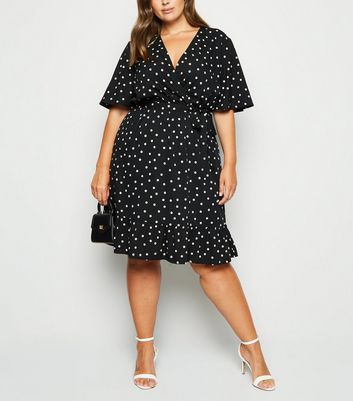 Curves Black Spot Frill Wrap Dress