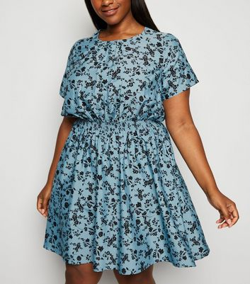 Curves Blue Floral Skater Dress