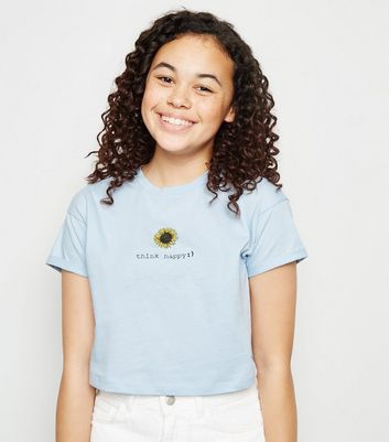Girls Pale Blue Think Happy Slogan T-Shirt