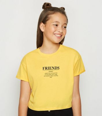 Girls Yellow Friends Slogan T-Shirt
