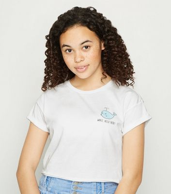 Girls White Whale Hello There Slogan T Shirt by New Look