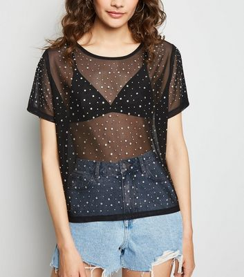 Black Mesh Diamanté Boxy T-Shirt