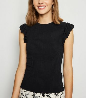 Black Frill Sleeve Ribbed T-Shirt