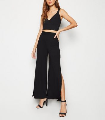 Black Ribbed Side Split Wide Leg Trousers