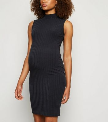Maternity Black Ribbed High Neck Midi Dres