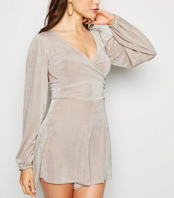 Stone Long Sleeve Wrap Front Playsuit