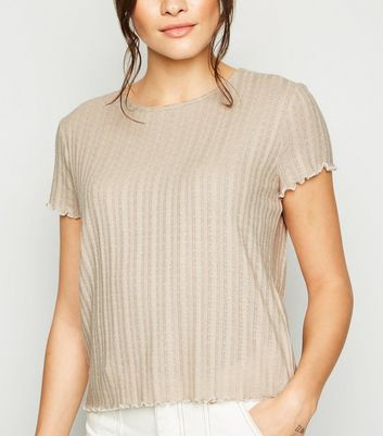 Stone Fine Cable Knit Frill T-Shirt