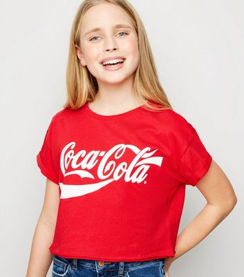 Girls Red Coca Cola Slogan T-Shirt