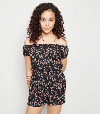 Girls Black Daisy Bardot Playsuit