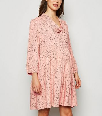 Maternity Pink Polka Dot Tie Neck Smock Dress