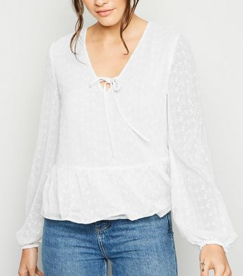 Tall White Embroidered Tie Peplum Blouse