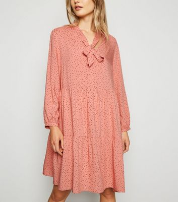 Tall Pink Spot Tie Neck Smock Dress