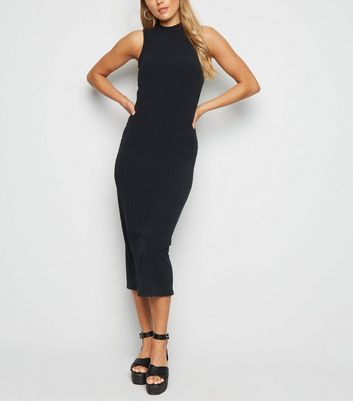 Tall Black Ribbed High Neck Midi Dress