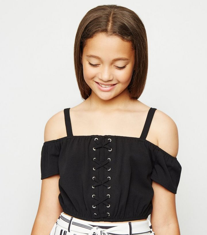 56cb91528b6409 Girls Black Lace Up Cold Shoulder Top | New Look