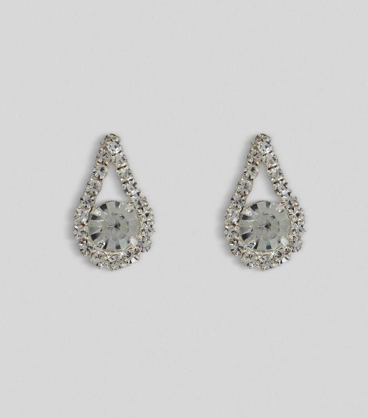 Silver Gem Teardrop Stud Earrings New Look