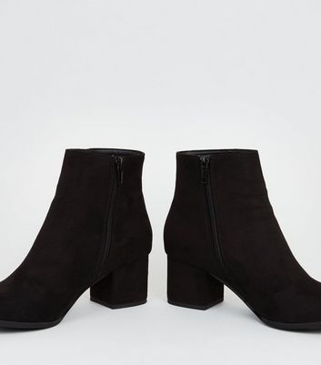 Girls Black Suedette Block Heel Ankle Boots Add to Saved Items Remove from  Saved Items