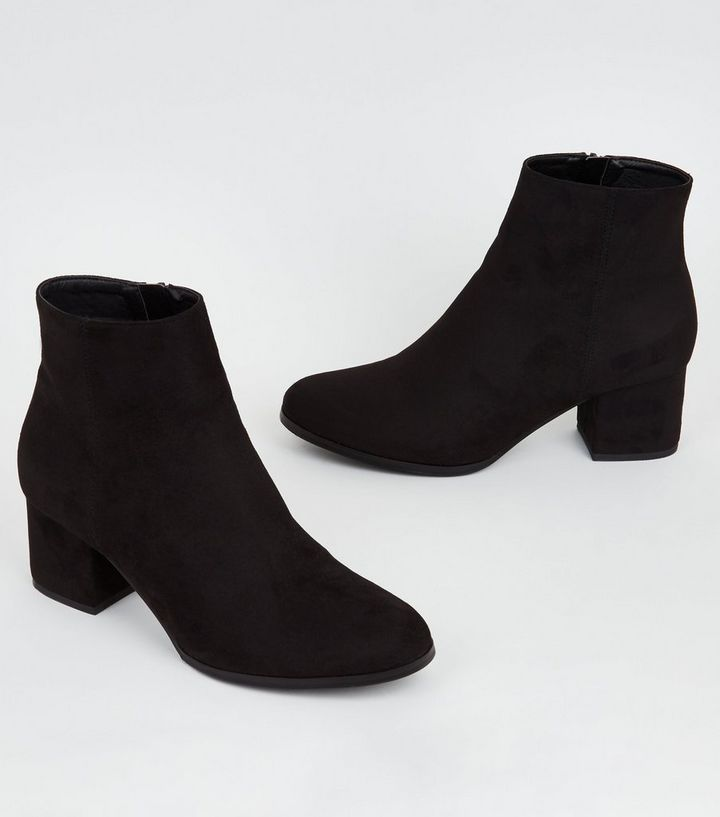 974bb33b76f Girls Black Suedette Block Heel Ankle Boots Add to Saved Items Remove from  Saved Items
