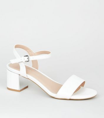 Wide Fit White 2 Part Metal Block Heels