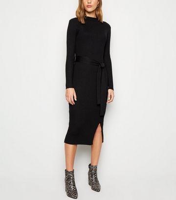 Black Ribbed Tie Waist Midi Dress