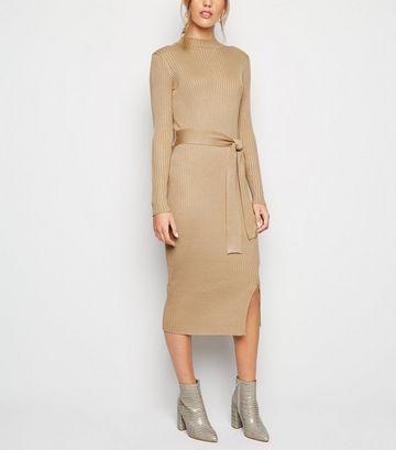 Camel Ribbed Tie Waist Midi Dress