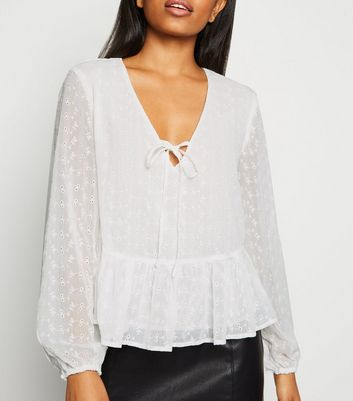 Petite White Embroidered Tie Peplum Blouse