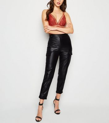 Innocence Black Leather-Look Utility Trousers
