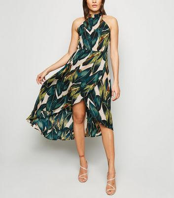 AX Paris Green Tropical Dip Hem Dress