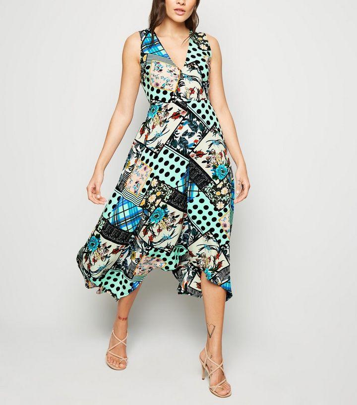 2b30f4be AX Paris Blue Satin Patchwork Midi Dress | New Look
