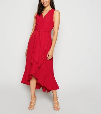 AX Paris Red Frill Trim Wrap Midi Dress