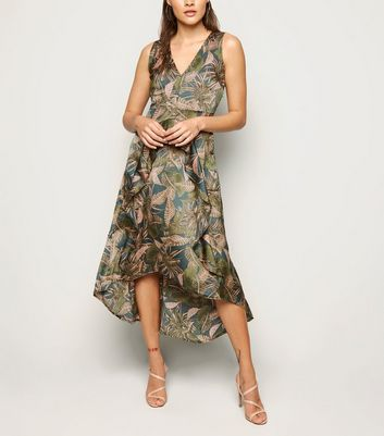 AX Paris Green Leaf Dip Hem Midi Dress