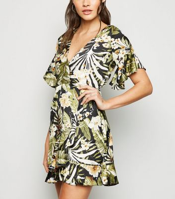 AX Paris Black Tropical Floral Wrap Dress