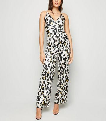 AX Paris Off White Leopard Print Jumpsuit