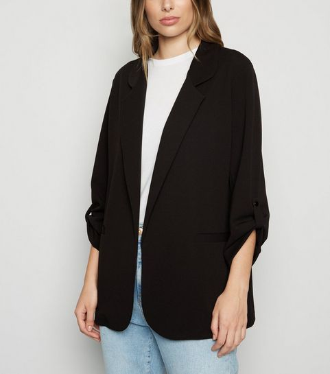 656e48c4219 Black Collared Scuba Blazer · Black Collared Scuba Blazer ...