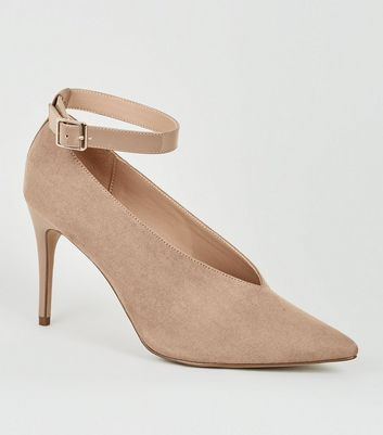 shop for Light Brown Suedette V Front Stiletto Courts New Look at Shopo